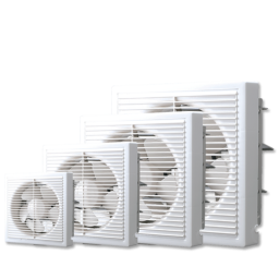 Full Plastic Grille Square Exhaust Fan Off-White